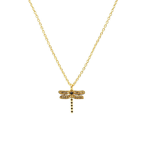 Diamond & Sapphire Dragonfly Necklace Gold