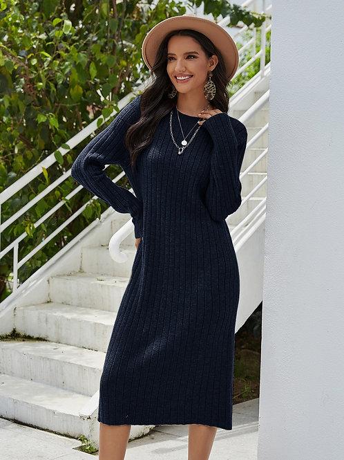 AVICII SWISS Solid Knit Sweater Dress