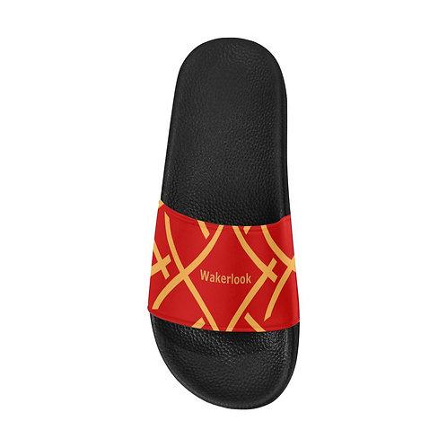 Golden Print Color Men's Red Slide Sandals