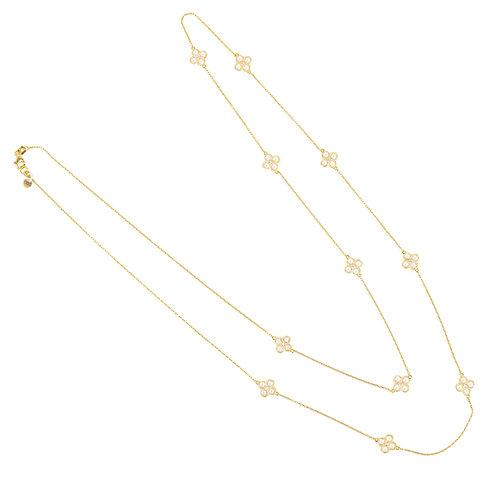 Flower Clover Long Chain White Quartz Necklace Gold
