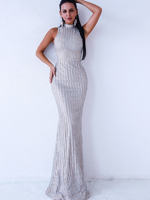 Silver Sleeveless Evening Gown AVICII SWISS Evelyn Belluci Collaboration