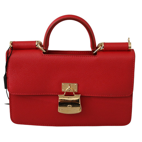 Red Gold Padlock Sling Phone Clutch Leather Sicily  Bag