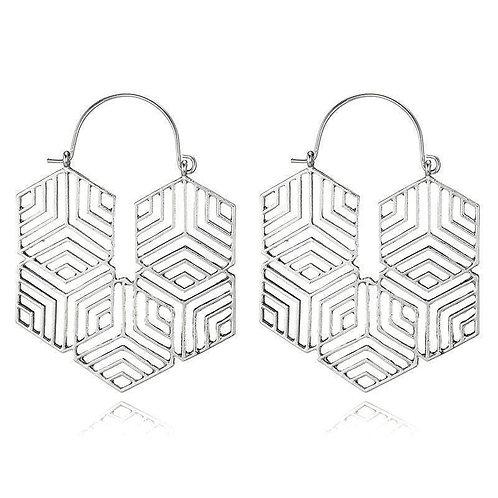 Hex -Silver Earrings