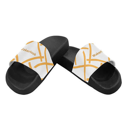Wakerlook Golden Print Color Men's White Slide Sandals