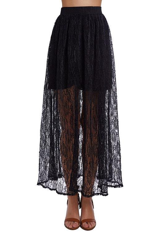 Black Crochet Maxi Skirt Q2-AVICII SWISS Collaboration