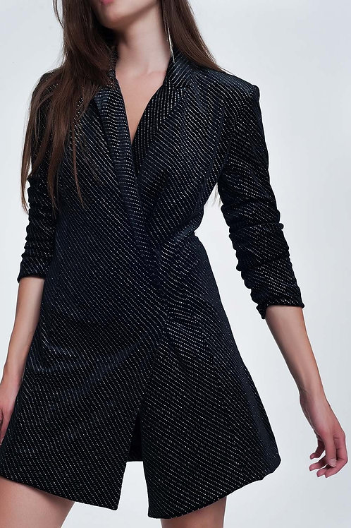 Mini Dress in Black With Shiny Print Q2-AVICII SWISS Collaboration