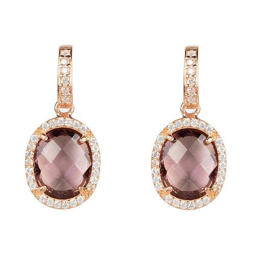 Beatrice Oval Gemstone Drop Earring Rose Gold Amethyst Hydro