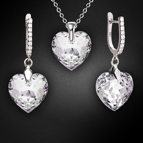 """925 Sterling Silver Jewelry Set """"Romantic Heart III R"""" with Crystals From Swarov"""