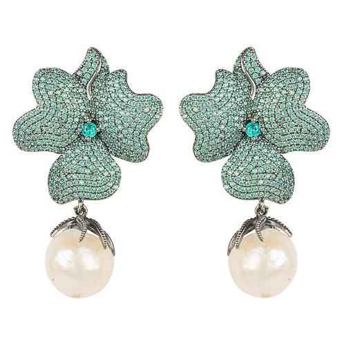 Baroque Pearl Flower Earring Aqua Paraiba Blue Oxidised