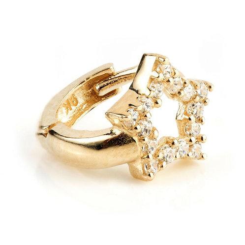 9ct Gold Mini Crystal Open Star Huggie Earring