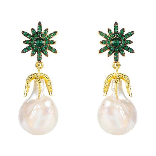 Baroque Pearl Star Burst Classic Stud Earring Green CZ