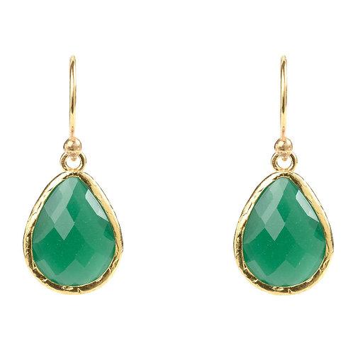 Petite Drop Earring Green Onyx Gold