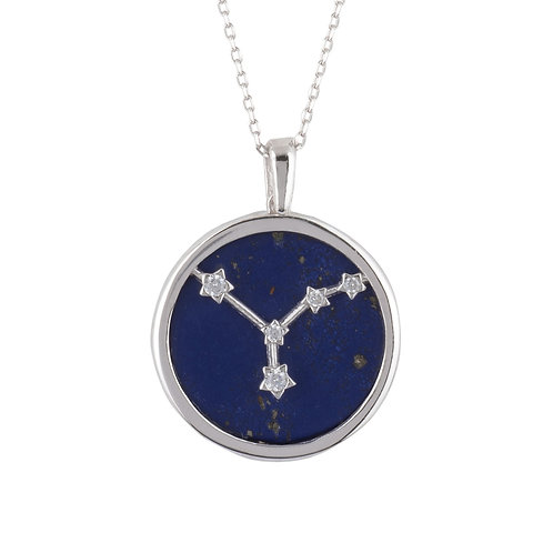 Zodiac Lapis Lazuli Gemstone Star Constellation Pendant Necklace Silver Cancer