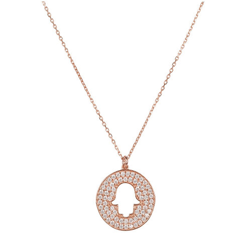 Hamsa Open  Disc Pendant Necklace Rose Gold