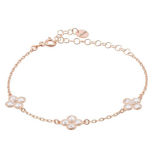 Flower Clover Triple Bracelet Rosegold
