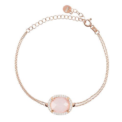 Beatrice Oval Gemstone Bracelet Rose Gold Rose Quartz