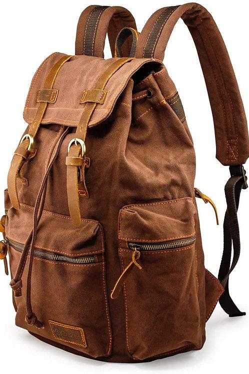 21L Vintage Canvas Backpack for Men Leather Rucksack Knapsack 15 inch Laptop To