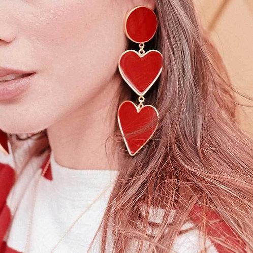 2 Red Heart Earrings