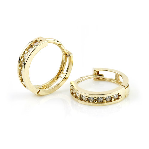 9ct Gold Crystal Channel 11mm Huggie Earring