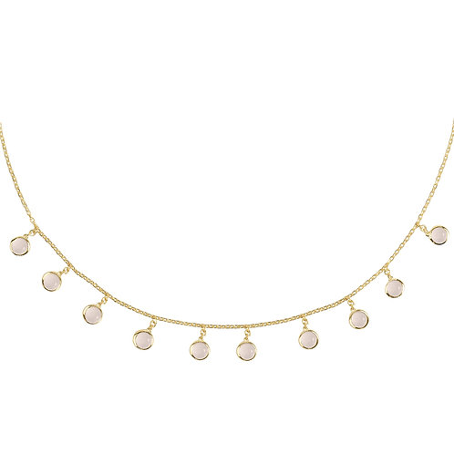 Florence Round Gemstone Necklace Gold Rose Quartz