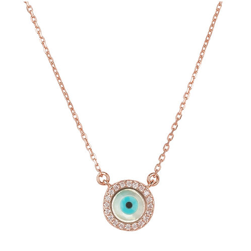 Evil Eye Mother of Pearl Necklace CZ Rose Gold