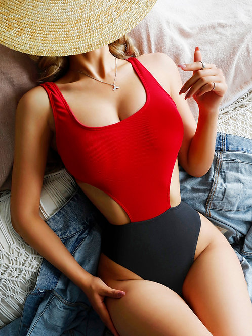 AVICII SWISS Two Tone Cut Out One Piece Swimsuit