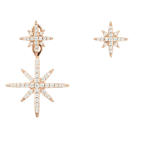 Asymmetric Star Burst Earring Rosegold