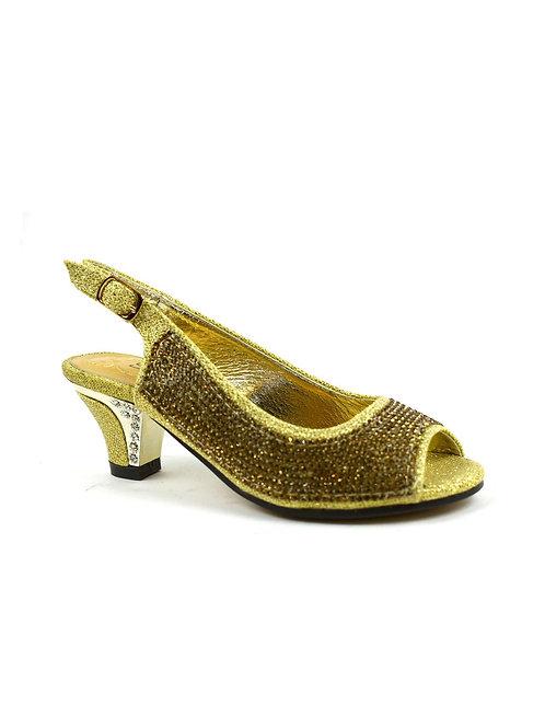 Girl's Diamante Slingback Kitten Heel Party Sandal Gold