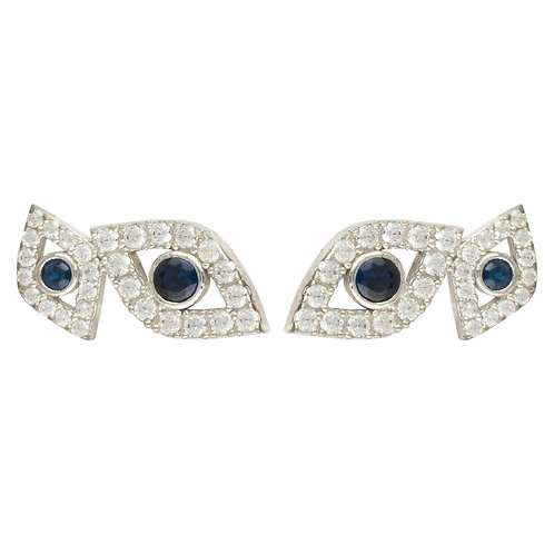 Eye Stud Earrings Silver