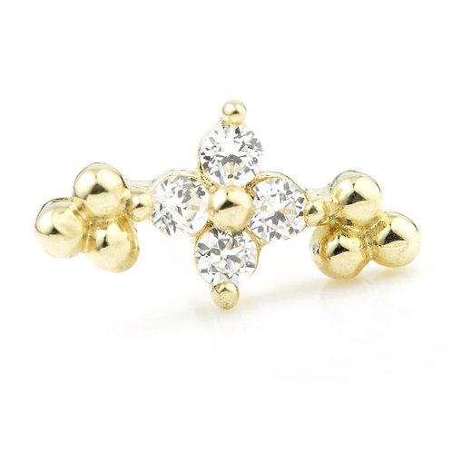 9ct Gold Crystal Flower Cartilage Bar