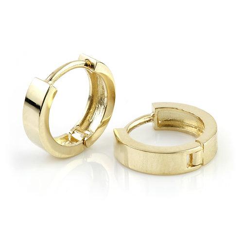 9ct Gold Flat Plain Cartilage 11mm Huggie Earring