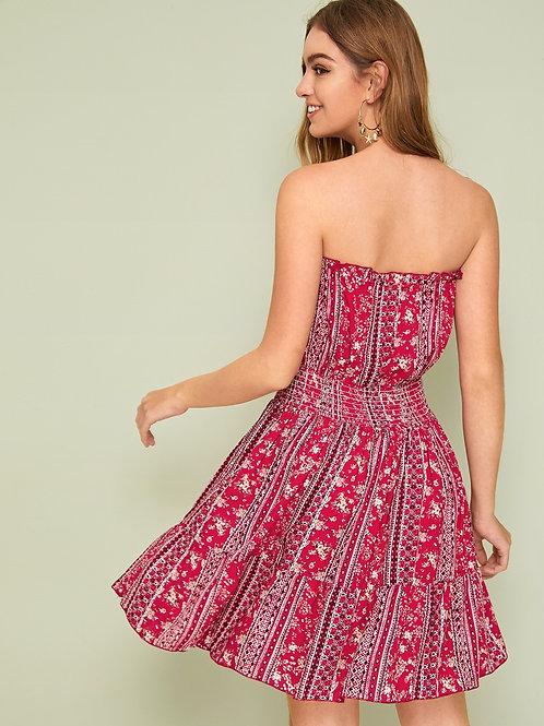 Floral & Tribal Print Tassel Lace Up Detail Tube Dress