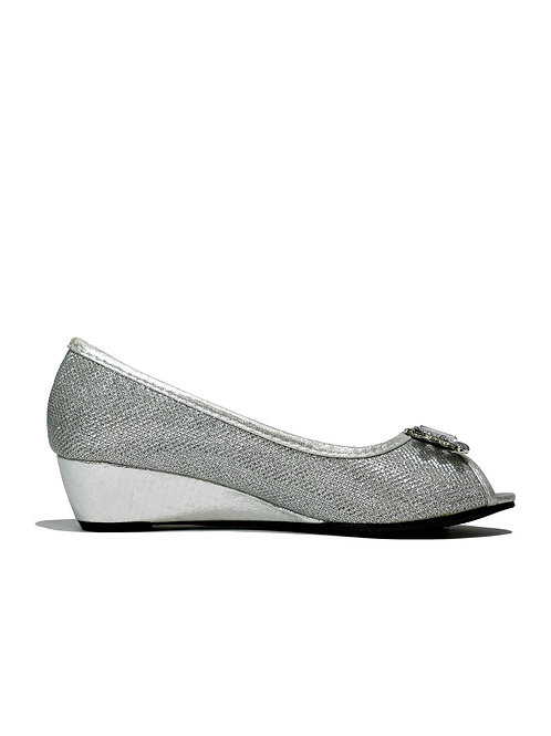 Silver Crystal Wedge Slip on Silver