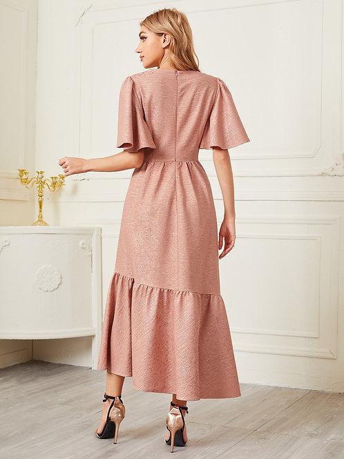 AVICII SWISS Bell Sleeve Gold Button Front Ruffle Hem Jacquard Dress