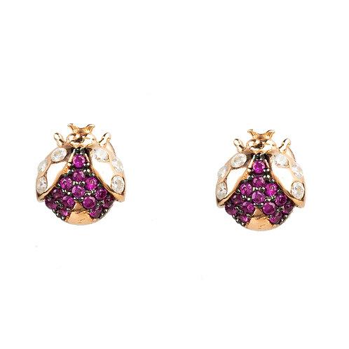 Lady Bug LadyBird Small Stud Earrings Rosegold