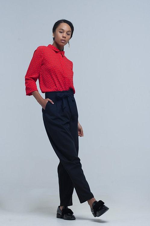 High Waist Black Pants With Belt Q2-AVICII SWISS Collaboration