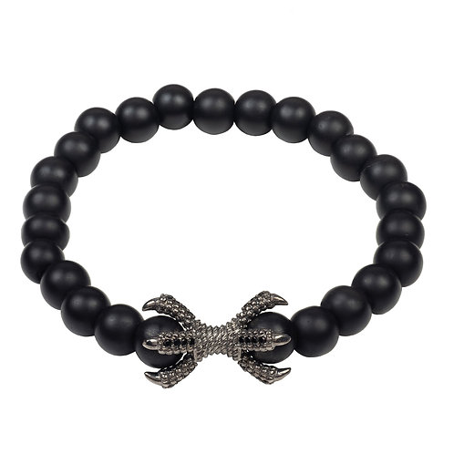 Claw Oxidised Sterling Silver Mens Matte Black Bracelet