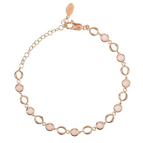 Milan Link Gemstone Bracelet Rose Gold Rose Quartz