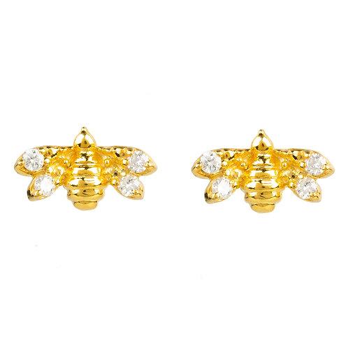 Diamond Mini Bee Stud Earrings Gold