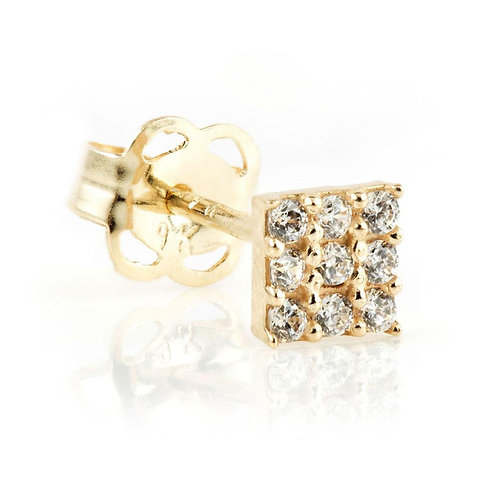 9ct Gold Pave Crystal Square Stud Earring