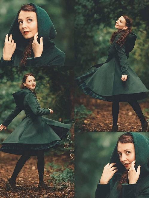 AVICII SWISS Women's Winter Single breasted wool Coat, red swing hooded princes