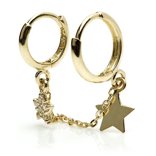 9ct Gold Double Piercing Star Huggie Earring