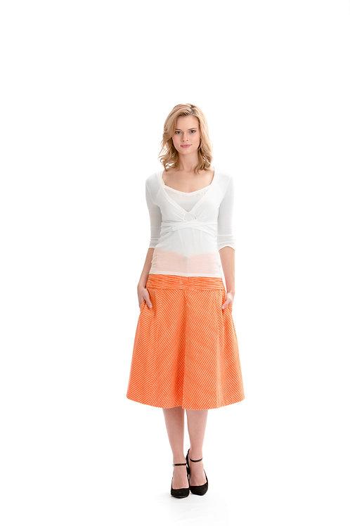 Flared Ikat Weave Skirt