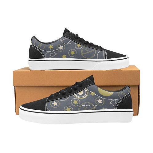 Symbol Stars Earth Moon Men's Lace-Up Canvas Shoes