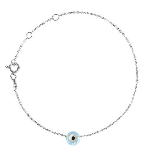 Evil Eye Mini Opalite Bracelet Silver