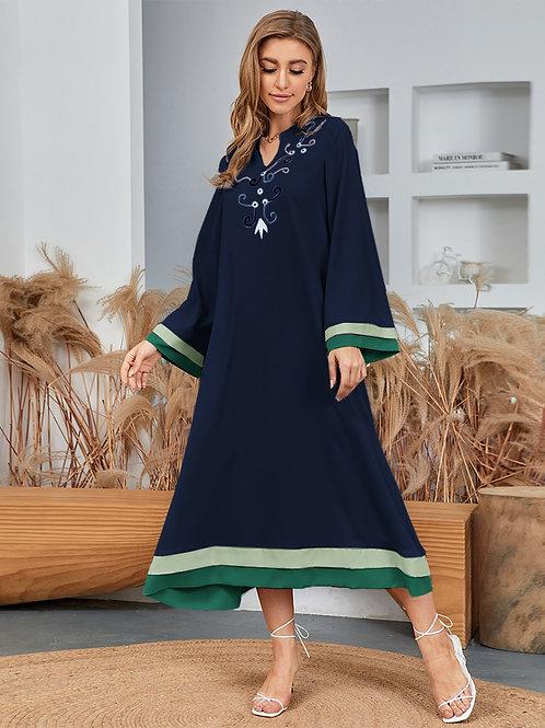 AVICII SWISS Graphic Embroidery Notched Arabian Dress