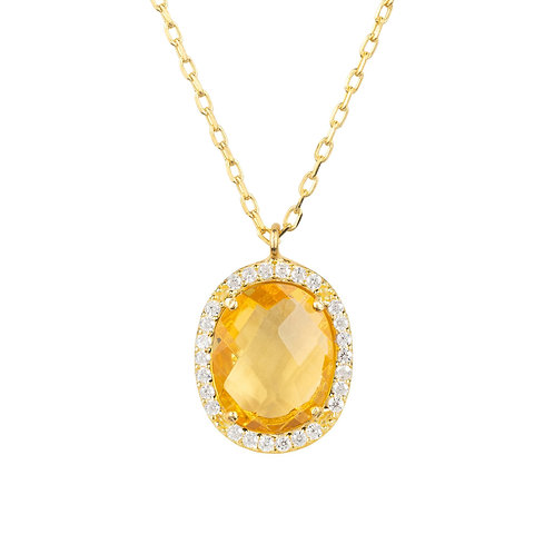 Beatrice Oval Gemstone Pendant Necklace Gold Citrine Hydro