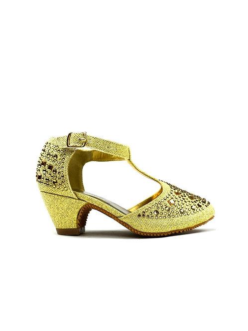 Wonder T-Bar Closed Toe Sandal Gold