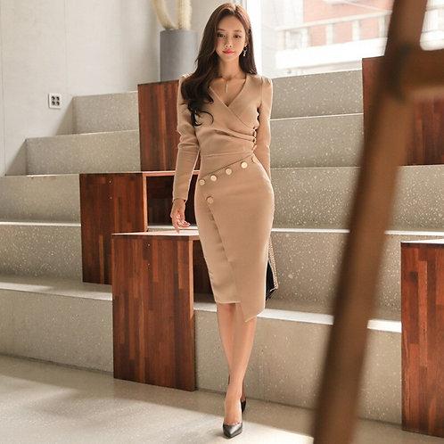 Suit Dress for sexy Women's Autumn / Winter 2020 New Korean V-Neck Long Sleeve