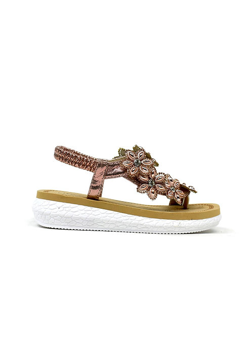 Girl's Twist Open Toe Flower Sandal Champagne